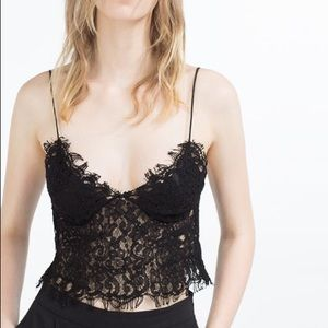 14e6088ed5f Zara Tops - Zara Guipure Lace Bustier Crop Bralette Camisole